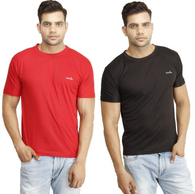 Eprilla Solid Men,s Round Neck Black, Red T-Shirt
