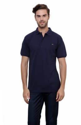 Lemon & Vodka Solid Men's Polo Neck Dark Blue T-Shirt