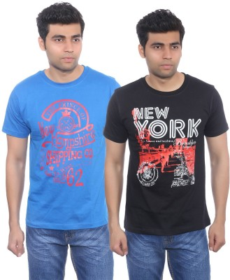 Studio Nexx Printed Men's Round Neck Blue, Black T-Shirt