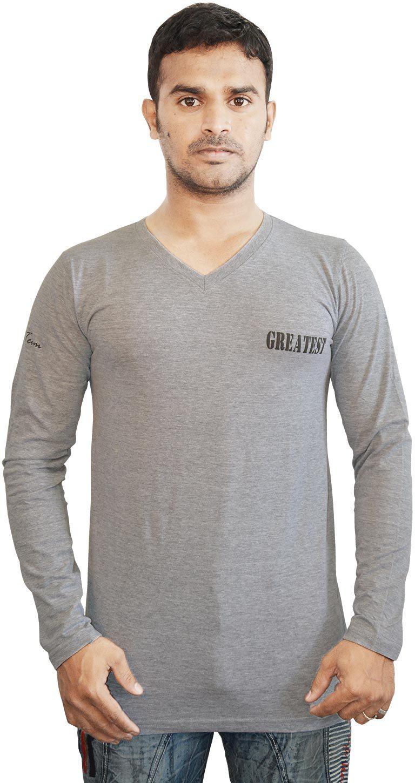 Al-Harsha Trend Solid Mens V-neck Grey T-Shirt