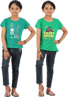 Rham Gold Printed Girl's Round Neck Reversible Dark Green, Light Green T-Shirt