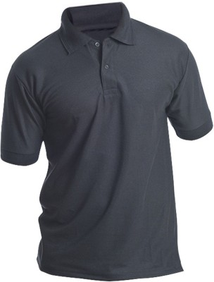 Silver Swan Solid Men's Polo Black T-Shirt