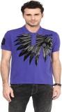 PUNK Printed Men's Polo Neck Purple T-Sh...