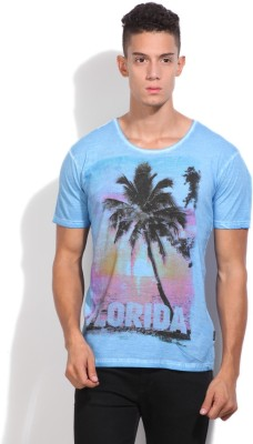 Indicode Printed Men's Round Neck Blue T-Shirt