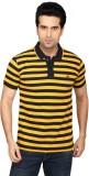Got It Striped Men's Polo Neck Yellow, B...