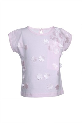 KARROT by Shoppers Stop Embellished Baby Girl,s Round Neck Pink T-Shirt