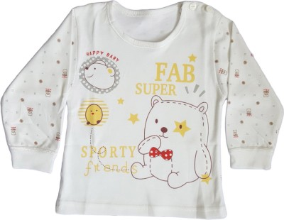 Upside Down Animal Print Baby Girl,s, Baby Boy's Round Neck White T-Shirt