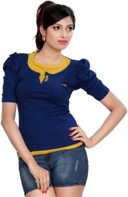 Comix Solid Women's Round Neck Blue T-Shirt