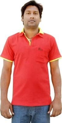 Khadi Natural Solid Men's Polo Neck Red, Yellow T-Shirt