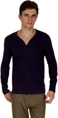 Blimey Solid Men's Henley Purple T-Shirt