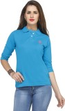 Run of luck Solid Women's Polo Neck Blue...