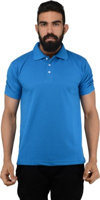NeoGarments Solid Men's Polo Neck Blue T-Shirt