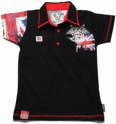 Little Kangaroos Printed Boy's Polo Neck Black T-Shirt
