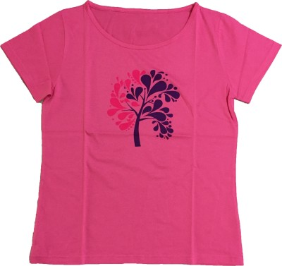 Dovekie Printed Women's Round Neck Pink T-Shirt
