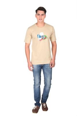 Tohfaa Printed Men's Round Neck Brown T-Shirt