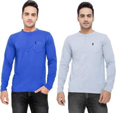 Eprilla Solid Men,s Henley Grey, Blue T-Shirt