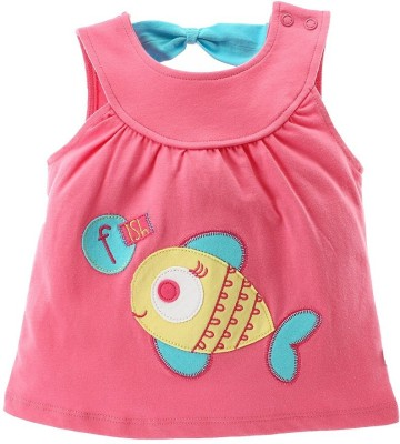 FS Mini Klub Embroidered Baby Girl's Round Neck Pink T-Shirt