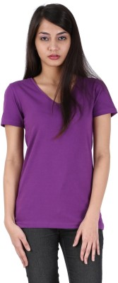Avarnas Solid Women's V-neck Purple T-Shirt