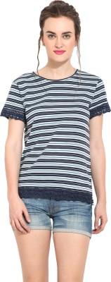 Rena Love Striped Women's Round Neck Blue T-Shirt