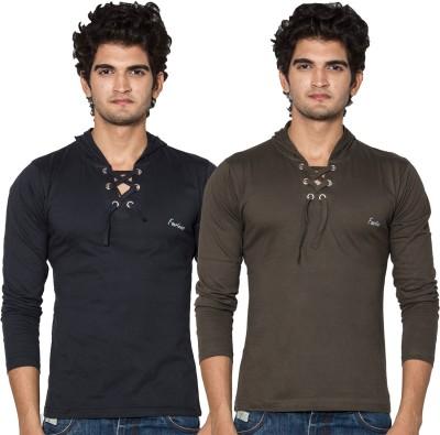 Amp Colors Solid Men's Hooded Brown, Black T-Shirt