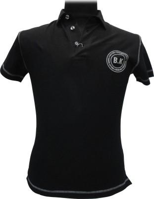 BK Black Solid Men's Flap Collar Neck T-Shirt