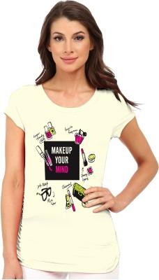 So Sweety Printed Women's Round Neck White T-Shirt
