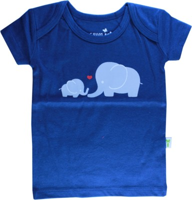 Little Green Kid Solid Baby Boy's Round Neck Dark Blue T-Shirt