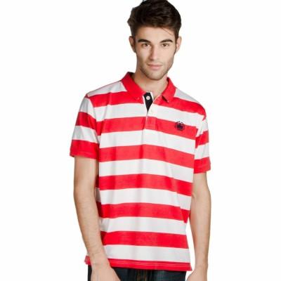Provogue Striped Men's Round Neck Red T-Shirt