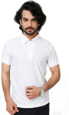 Elligator Solid Men's Polo Neck White T-Shirt