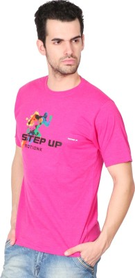 Vector X Solid Men's Round Neck Pink T-Shirt