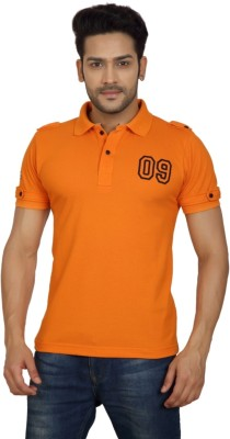 Goplay Solid Men's Polo Neck Orange T-Shirt