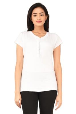 TSG Bliss Solid Women's Round Neck White T-Shirt