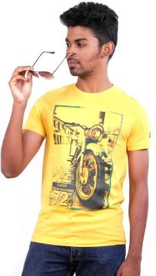 S CUBE Printed Men's Round Neck Yellow T-Shirt