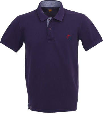 Roar and Growl Solid Men's Polo Purple T-Shirt