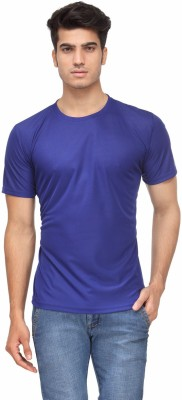 Rico Sordi Solid Men's Round Neck Blue T-Shirt