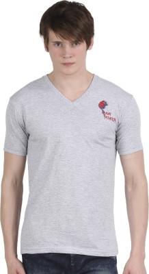 Tease Denim Embroidered Men's V-neck Grey T-Shirt