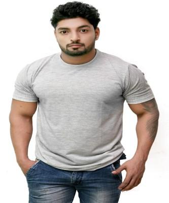 Pikcart Solid Men,s, Boy's Round Neck Grey T-Shirt