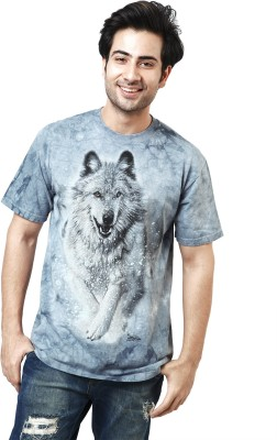 The Mountain Printed Men's Round Neck Light Blue, White, Grey T-Shirt