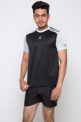 Acetone Solid Men's Round Neck Black, Silver T-Shirt