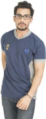 Petroficio Solid Men's Polo Neck Blue T-Shirt