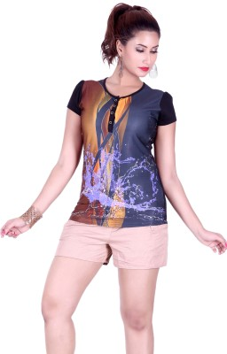Go4it Printed Women's Round Neck Gold T-Shirt