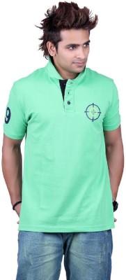 Counter Solid Men's Polo Neck Light Green T-Shirt