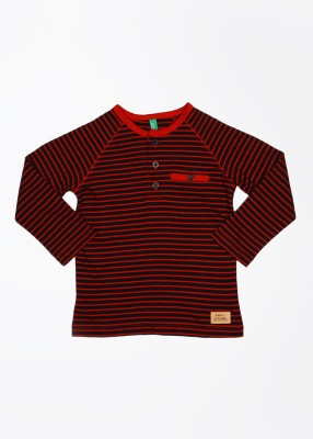 United Colors of Benetton Striped Boy's Henley Black, Red T-Shirt