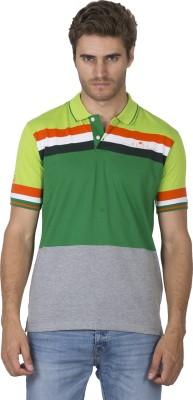 Duke Stardust Striped Men's Polo Neck Green T-Shirt