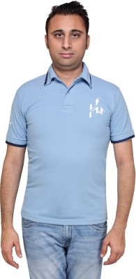 HIRA FASHION WEAR Solid Men's Polo Neck Light Blue T-Shirt