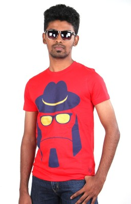 Fashion4u Printed Men's Round Neck Red T-Shirt