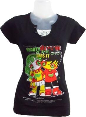 Revinfashions Printed Women's Turtle Neck Black T-Shirt