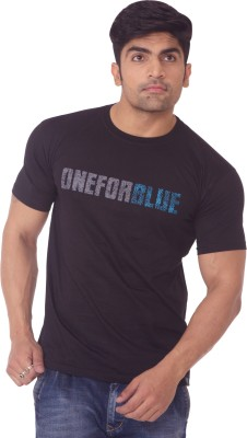 One For Blue Printed Men's Round Neck Black T-Shirt