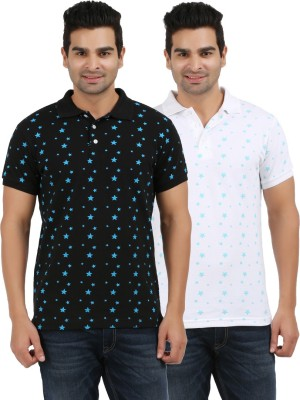 AG Printed Men's Polo Neck White, Black T-Shirt