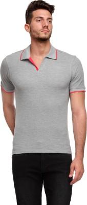 Flippd Solid Men's Polo Neck Grey T-Shirt